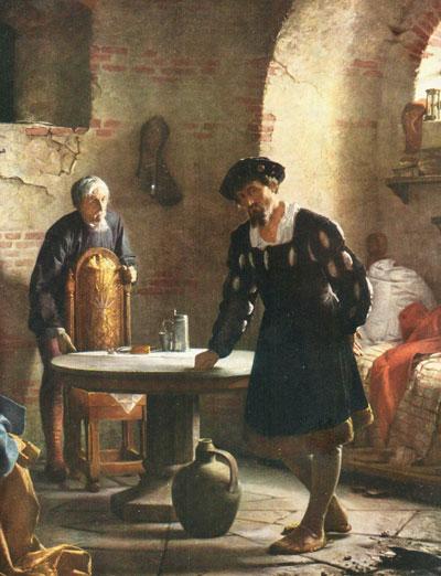 """""""Kristian Tyrann"""" i fångenskap i en historisk målning från 1871"""