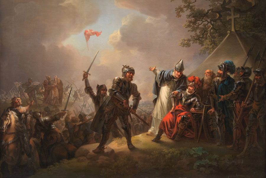 Danska flaggan faller från himlen 1219