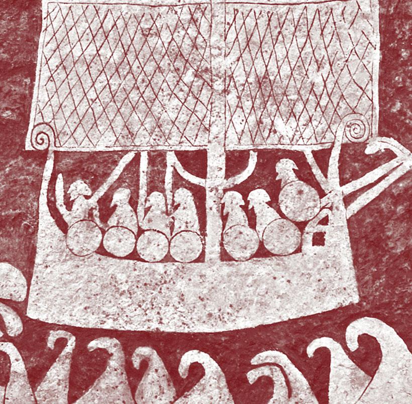 Vikingatiden: bildsten från gotland föreställande skepp