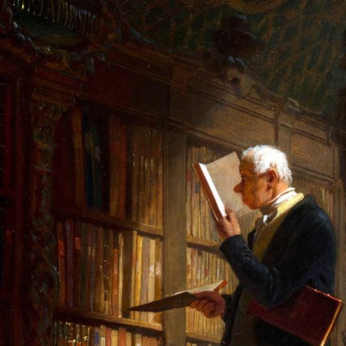 Bokmal läser i ett bibliotek