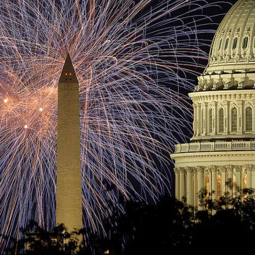 4 of July-fyrverkerier vid Kapitolium, Washington D.C.