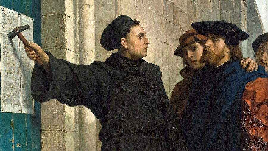 Martin Luther spikar upp sina 95 teser, historisk målning