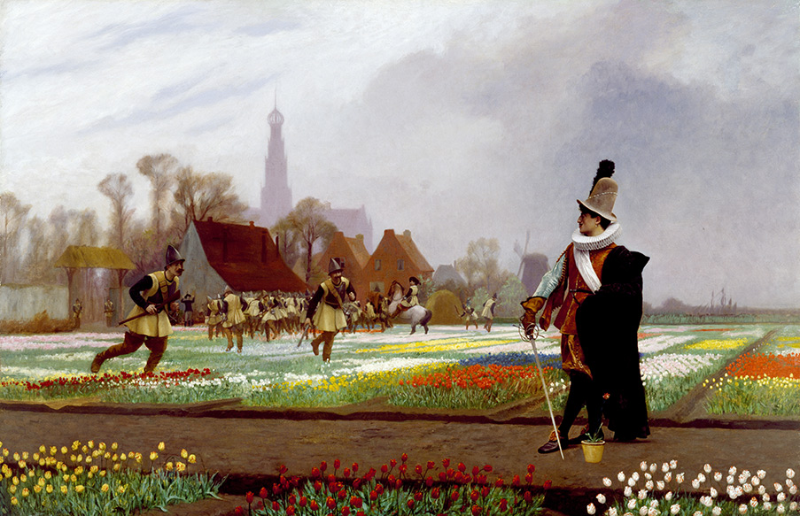 En historisk målning då holländska soldater trampar sönder tulpanlökar, för att hålla nere priserna