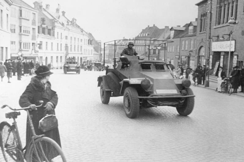 Invasionen av Danmark - tyska trupper passerar genom Viborg