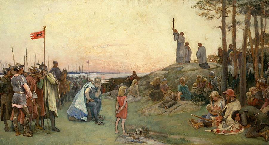 Ansgar predikar, målning från Nationalmuseum